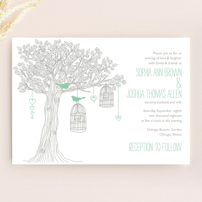 """""""Love Let Loose"""" - Whimsical & Funny, Rustic Wedding Invitations in Seaglass by Paisley Tree Press."""