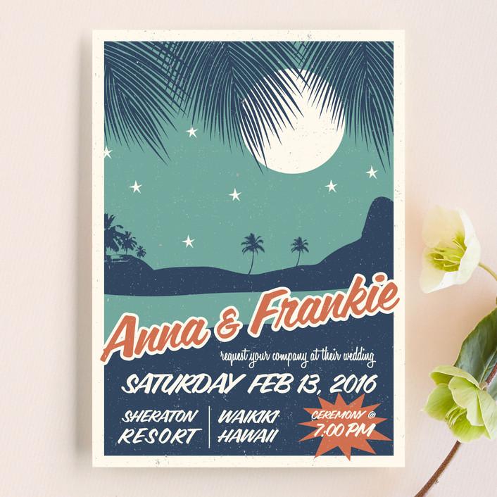 """Retro Hawaii"" - Destination, Beach Wedding Invitations in Midnight Blue by Coco and Ellie Design."