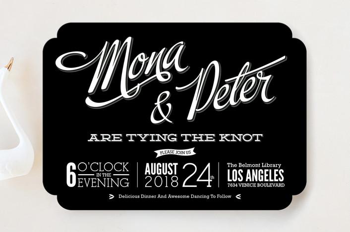 """""""Love Script"""" - Bold typographic, Vintage Wedding Invitations in Midnight by GeekInk Design."""