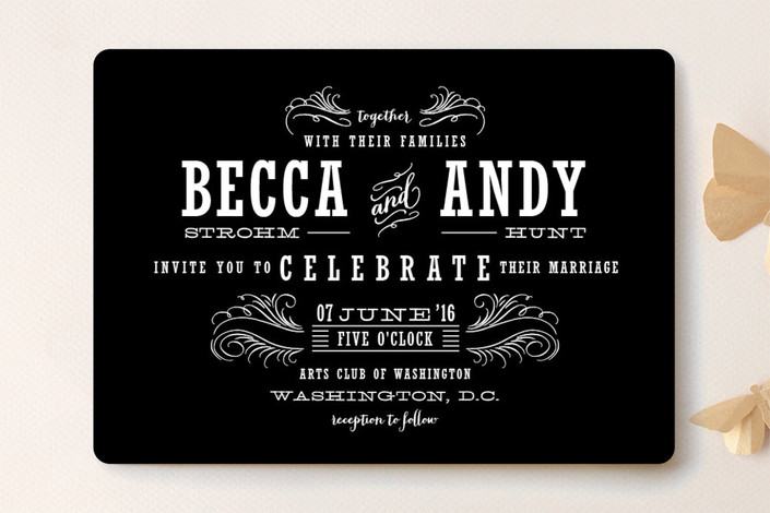 """""""Antique Chalkboard"""" - Vintage, Bold typographic Wedding Invitations in Blackboard by Cheer Up Press."""
