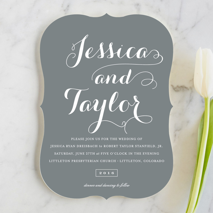 """Just Lovely"" - Classical, Simple Wedding Invitations in Grey Chalkboard by Sara Hicks Malone."