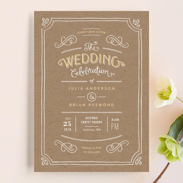 """Hand Delivered"" - Vintage Wedding Invitations in Kraft by Jennifer Wick."