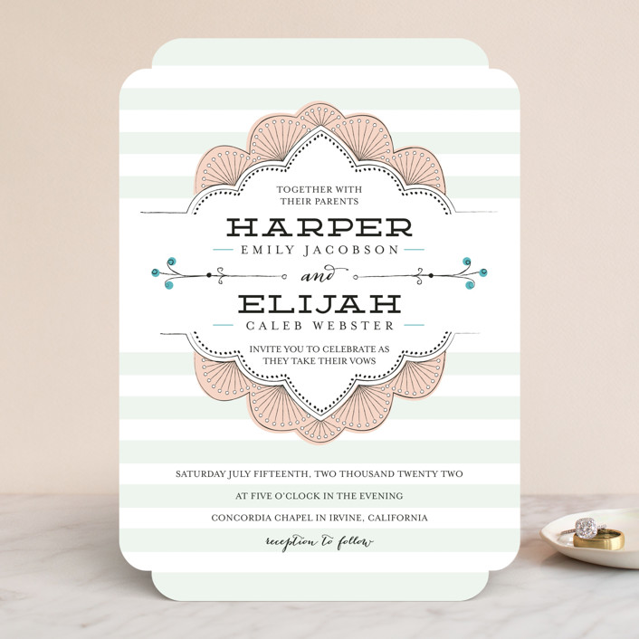 """Striped Sweet Nothings"" - Classical, Modern Wedding Invitations in Romantic by Frooted Design."