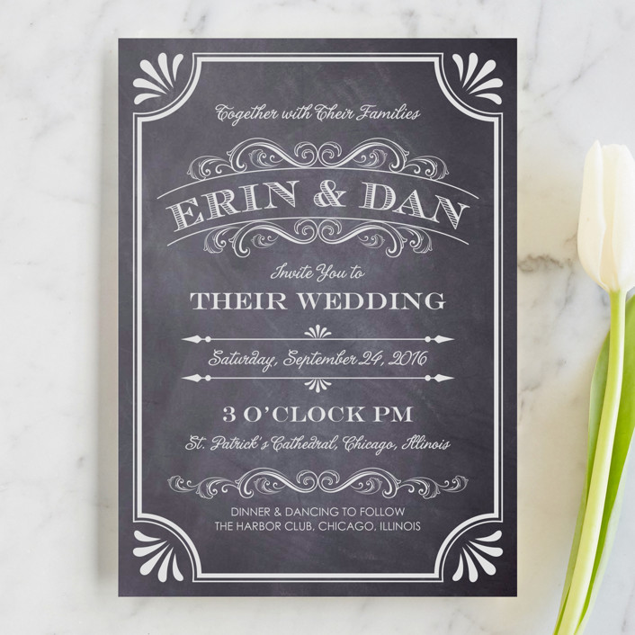 """A Chalkboard Marriage"" - Vintage Wedding Invitations in Chalkboard by Erin Deegan."