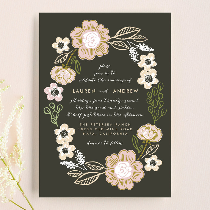 """""""Botanical Wreath"""" - Floral & Botanical, Rustic Wedding Invitations in Charcoal by Alethea and Ruth."""