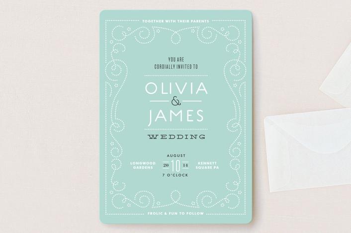 """Bookbinder"" - Vintage Wedding Invitations in Teal by Jennifer Wick."