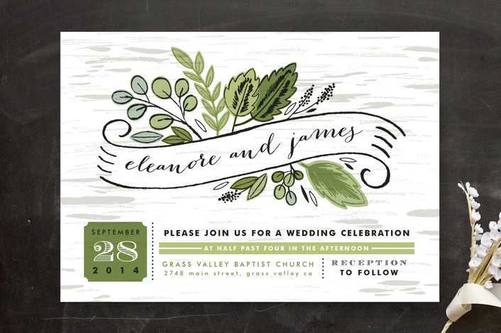 """Birch Bark Woods"" - Rustic, Floral & Botanical Wedding Invitations in Evergreen by Alethea and Ruth."