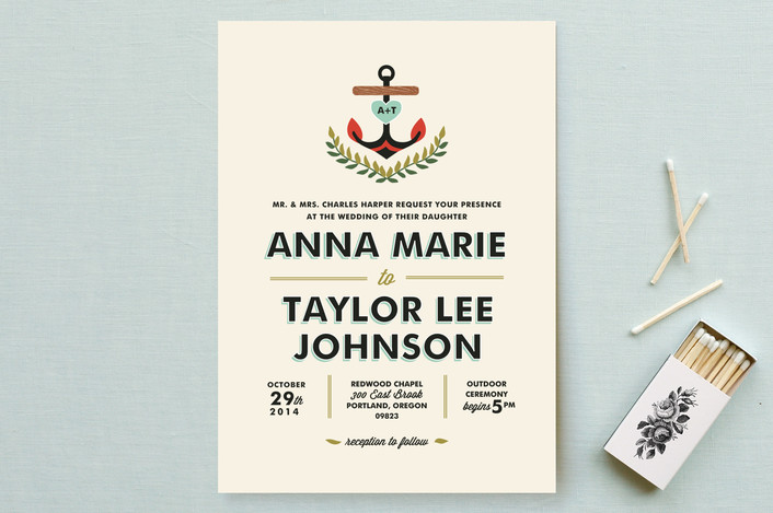 """Nautical Campy Love"" - Preppy, Beach Wedding Invitations in Light Blue by Trista Sydloski-Tesch."