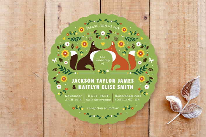 """""""Woodland"""" - Floral & Botanical, Whimsical & Funny Wedding Invitations in Grass by Kristen Smith."""