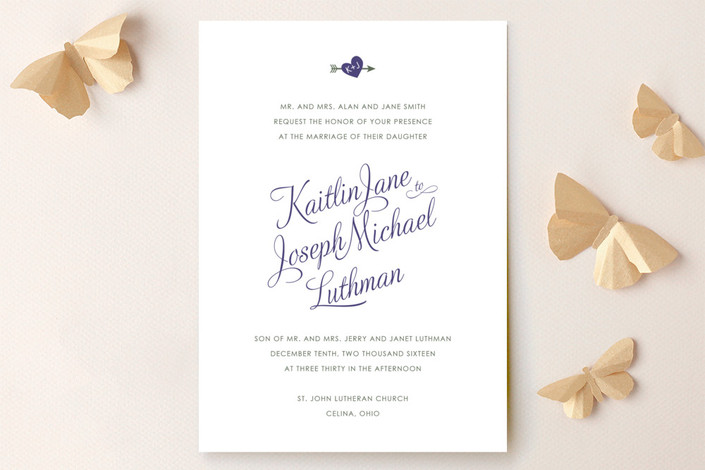 """Heartthrob"" - Simple, Classical Wedding Invitations in Eggplant by Olive and Violet."