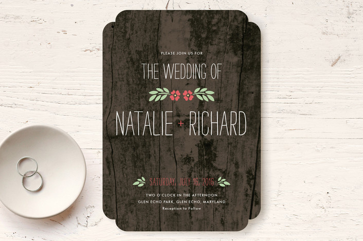 """In the Park"" - Rustic, Floral & Botanical Wedding Invitations in Rose by Amanda Larsen Design."