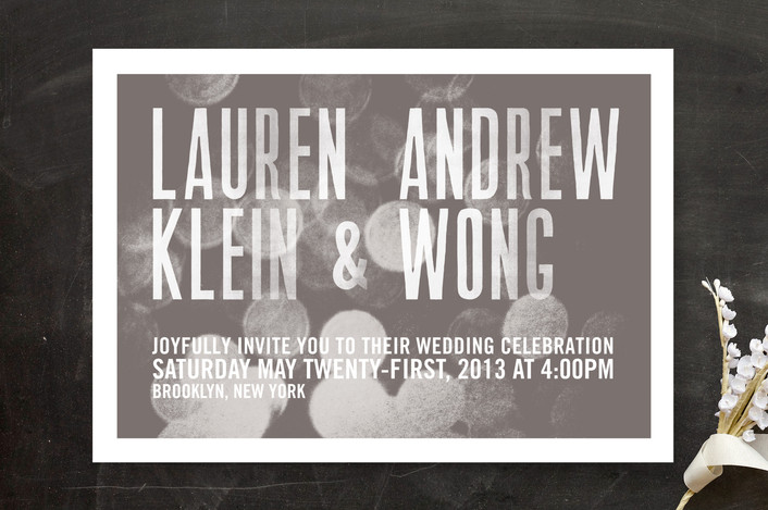 """""""Bokeh Bride"""" - Bold typographic, Modern Wedding Invitations in Slate by Andres Montaño."""