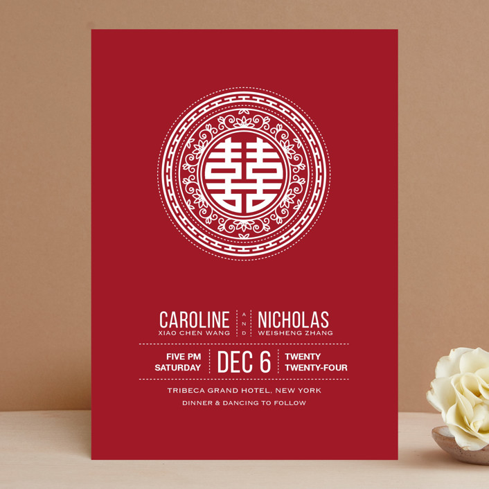 """""""Double Happiness Seal"""" - Bold typographic Wedding Invitations in Carmine by Guess What Design Studio."""