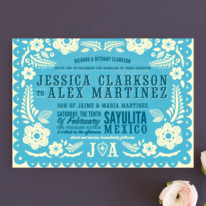 """""""Papel Picado"""" - Floral & Botanical, Monogrammed Wedding Invitations in Poppy by Andres Montaño."""