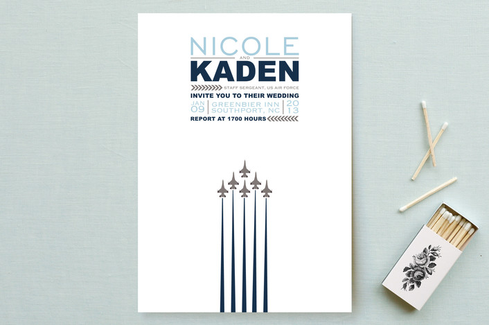 """""""Air Force Salute"""" - Modern Wedding Invitations in Airman Blue by Heather.."""