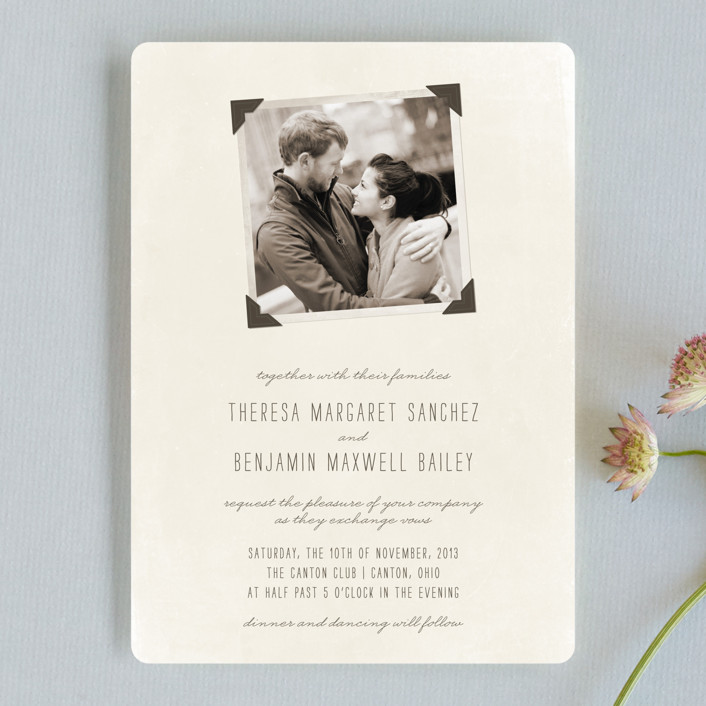 """Moment in Time"" - Vintage Wedding Invitations in Linen by The Social Type."