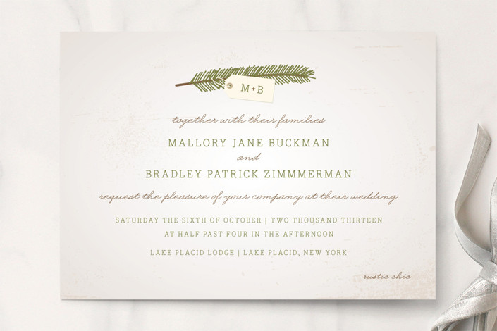 """""""Evergreen"""" - Rustic, Monogrammed Wedding Invitations in Pine by The Social Type."""
