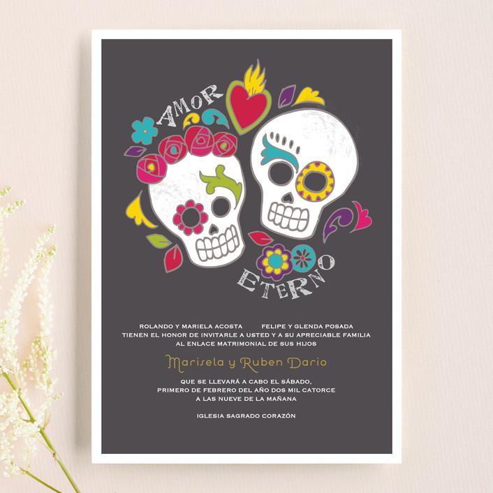 """Dia de los Muertos"" - Whimsical & Funny Wedding Invitations in Slate by Inky Livie."