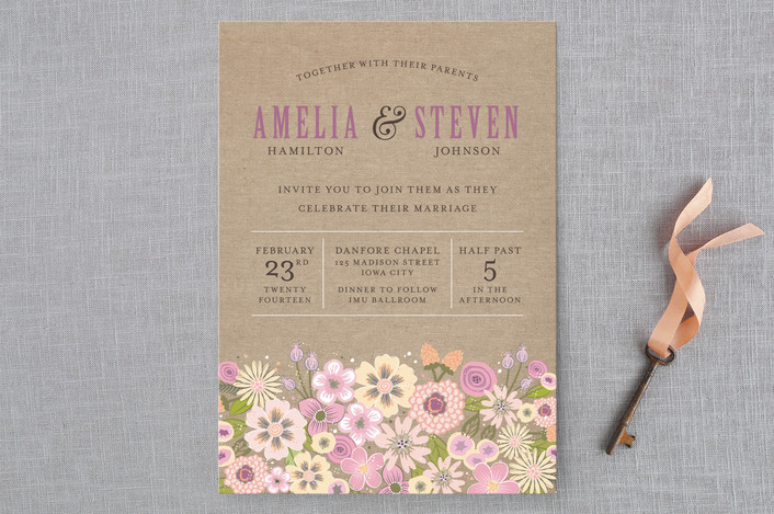 """Burlap Bouquet"" - Rustic, Floral & Botanical Wedding Invitations in Blush by Laura Bolter Design."