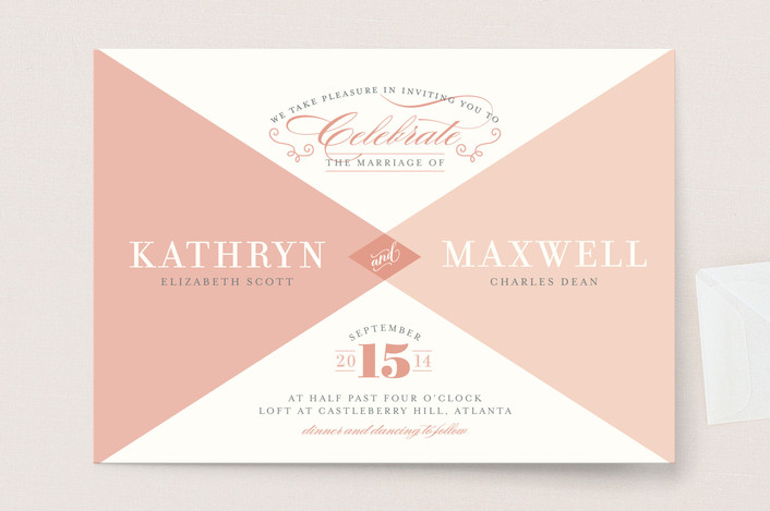 """Mingle Graphic"" - Modern, Elegant Wedding Invitations in Rose by Carrie ONeal."