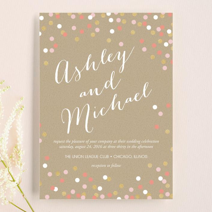 """Golden Glittering Confetti"" - Modern, Whimsical & Funny Wedding Invitations in Quartz by Erin Deegan."