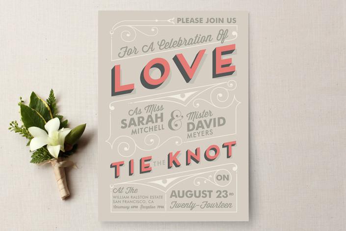 """Celebrate Love"" - Bold typographic, Vintage Wedding Invitations in Coral by GeekInk Design."