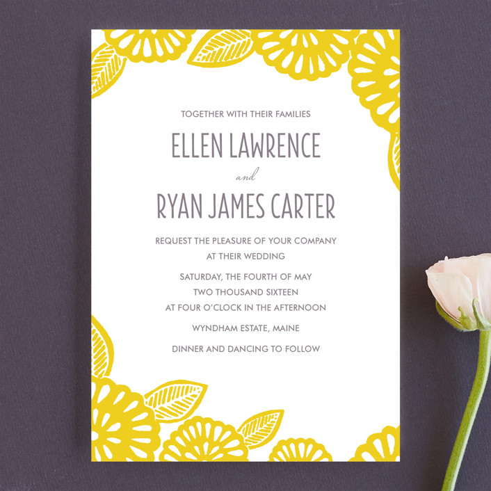"""Bold Block Print"" - Floral & Botanical, Modern Wedding Invitations in Mustard by Katharine Watson."