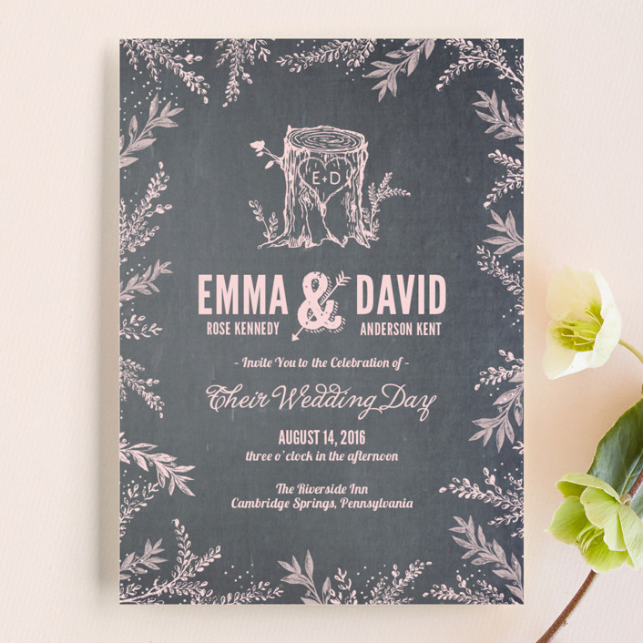 """""""Woodland Romance"""" - Rustic, Whimsical & Funny Wedding Invitations in Blush by cadence paige design."""