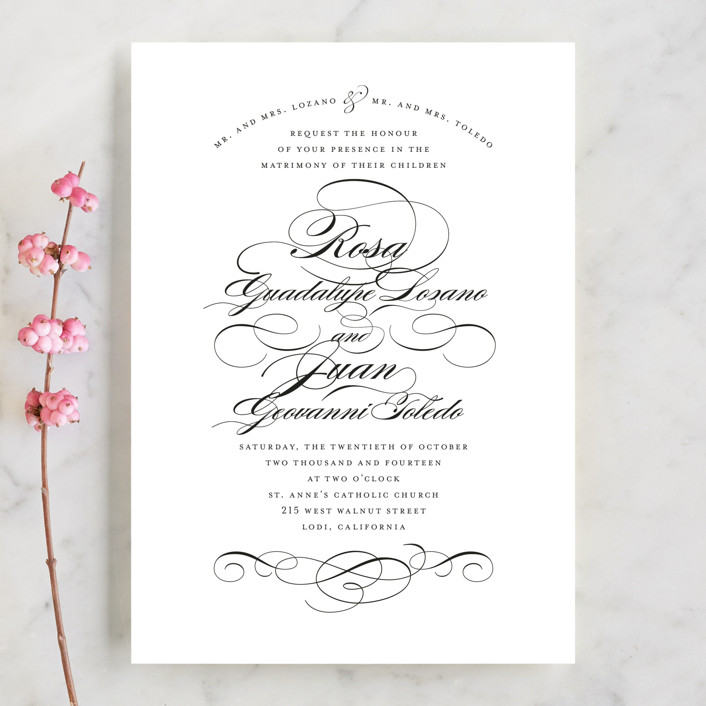 """""""Formal Ink"""" - Classical, Formal Wedding Invitations in Black Tie by Jill Means."""