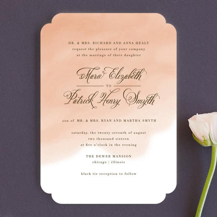 """Watercolor Wash"" - Classical, Beach Wedding Invitations in Peach by Lehan Veenker."
