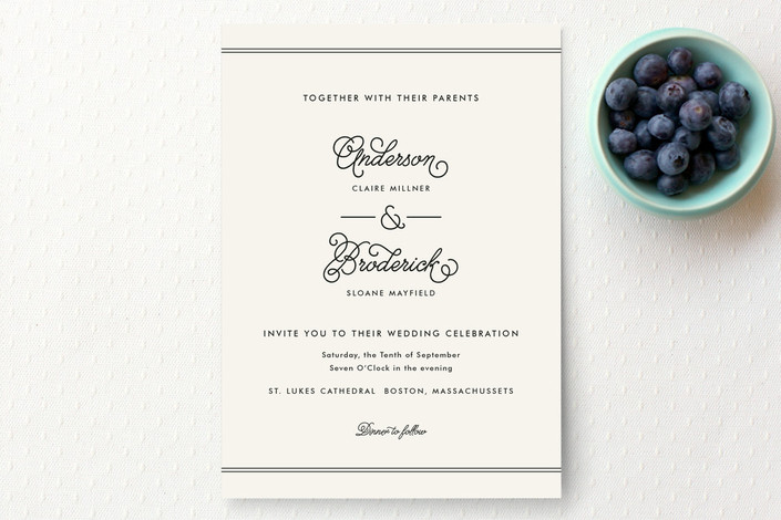 """Broderick"" - Vintage, Simple Wedding Invitations in Ivory by Jennifer Wick."