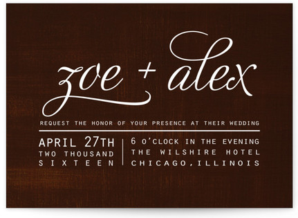 Chocolate Matrimony Wedding Invitations