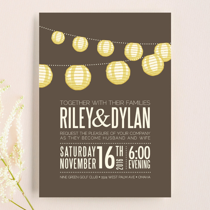 """Paper Lanterns"" - Rustic Wedding Invitations in Latte by Pixel 3."