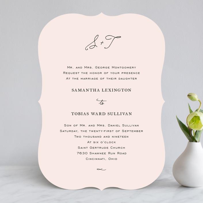"""""""Estate"""" - Elegant, Formal Wedding Invitations in Blush by Kim Dietrich Elam."""