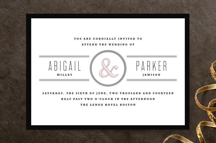 """Dressmaker Details"" - Simple, Bold typographic Wedding Invitations in Black by Kristie Kern."