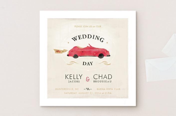 """Vintage Car (Bonnie Ride)"" - Vintage, Whimsical & Funny Wedding Invitations in Coral by Lori Wemple."