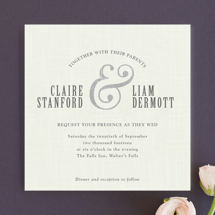 """Crosshatch"" - Modern, Bold typographic Wedding Invitations in Classic by Stacey Hill."