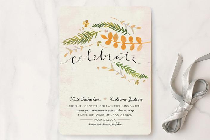 """Leaf Specimen"" - Rustic Wedding Invitations in Goldenrod by Krista Messer."