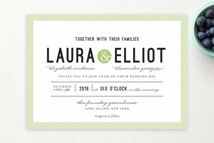 """""""Dot and Cross"""" - Bold typographic, Modern Wedding Invitations in Grass by Olivia Raufman."""