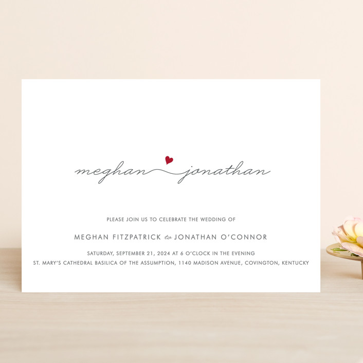 """Love Connection"" - Modern, Simple Wedding Invitations in Red Hot by Kim Dietrich Elam."