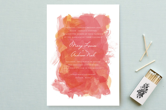 """Aquarelle"" - Modern Wedding Invitations in Apricot Rose by Paper Plains."