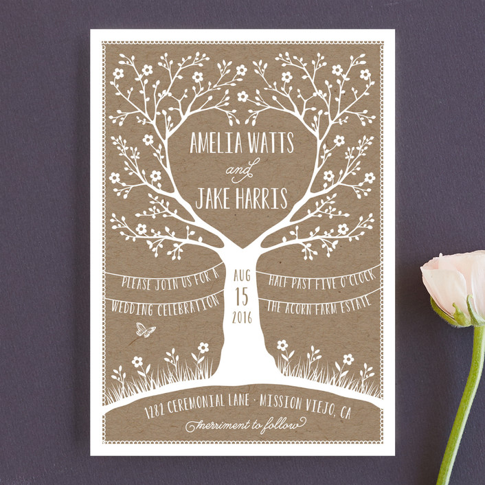 """Kraft Woodland Tree"" - Rustic Wedding Invitations in Buckwheat by Coco and Ellie Design."