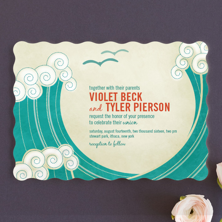 """BLOCK PRINT WAVES"" - Modern, Whimsical & Funny Wedding Invitations in Teal by bumble ink."