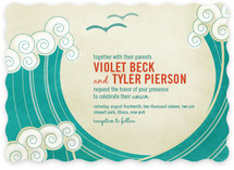 BLOCK PRINT WAVES Wedding Invitations