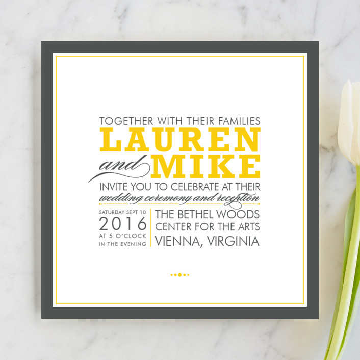 """Cocktail Hour"" - Modern, Simple Wedding Invitations in Corn Yellow by Ariel Rutland."