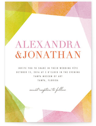 Geometric Watercolor Wedding Invitations