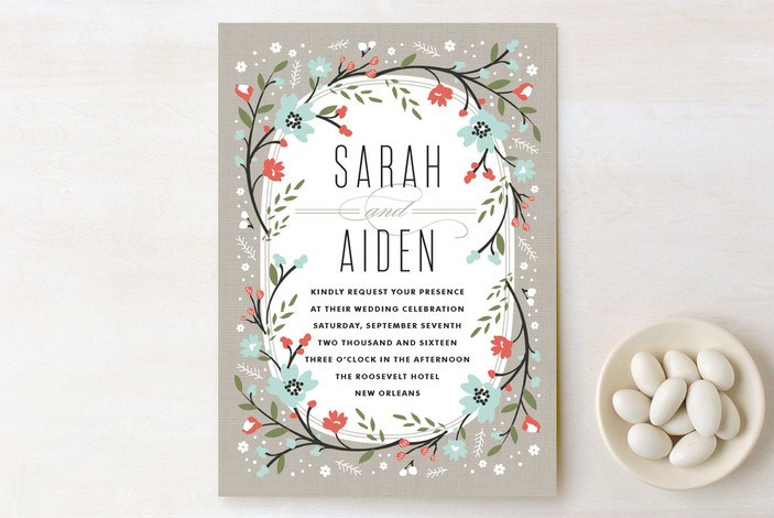 """Garden Frame"" - Floral & Botanical, Rustic Wedding Invitations in Mist by Kristie Kern."