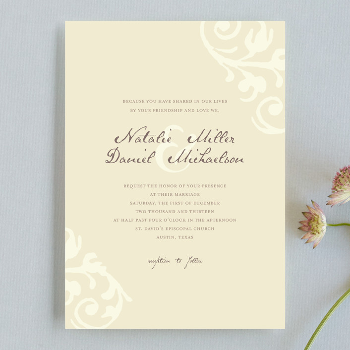 """Elegant Flourish"" - Classical Wedding Invitations in Pale Yellow by Guess What Design Studio."