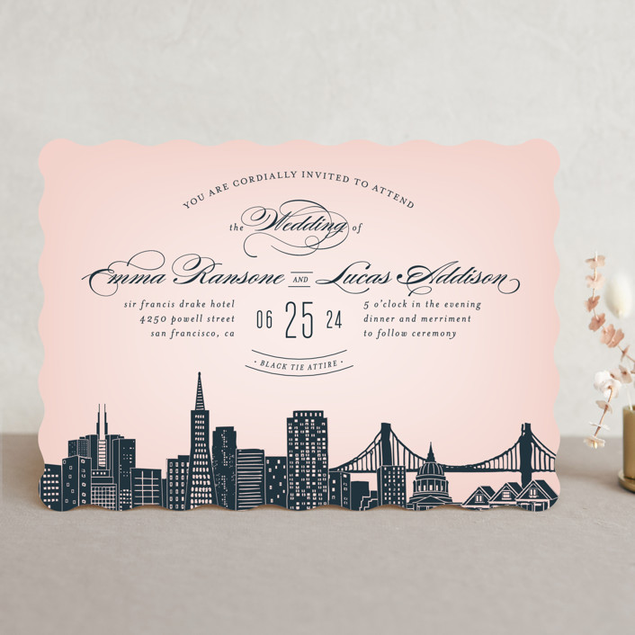 """Big City - San Francisco"" - Modern, Cities & States Wedding Invitations in Blush by Hooray Creative."
