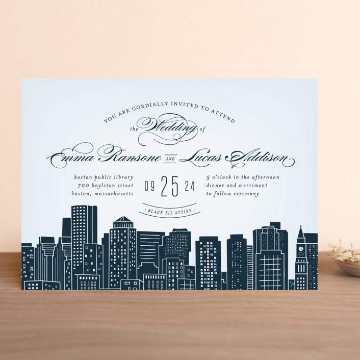 home wedding invitations big city boston